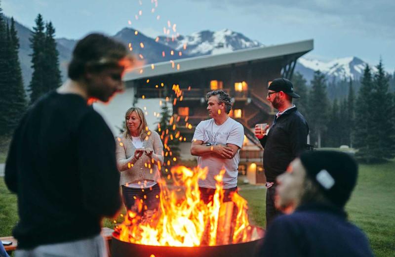 Bonfire at CMH Bugaboos Lodge.