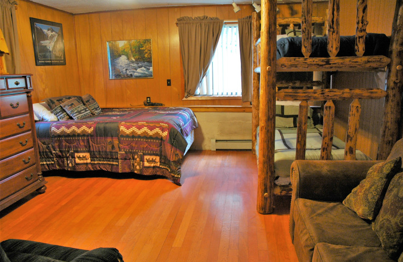 Cabin bedroom at Gwin's Lodge & Kenai Peninsula Charter Booking Service.