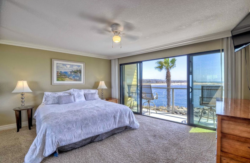 Rental bedroom at Mission Sands Vacation Rentals.