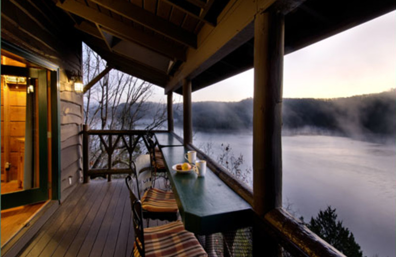 Deck view at Winterwood Lakeside Cottage.