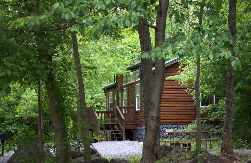 Cabin exterior at Yogi Bear's Jellystone Park Hagerstown.