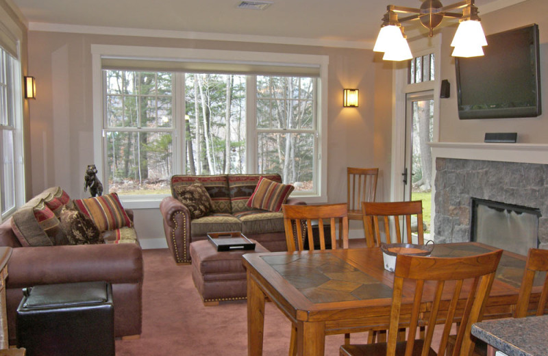 Vacation rental living and dining room at Loon Reservation Service.