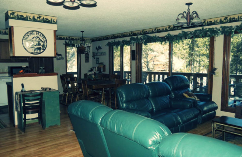 Cabin living room at Edelweiss Mountain Lodging.