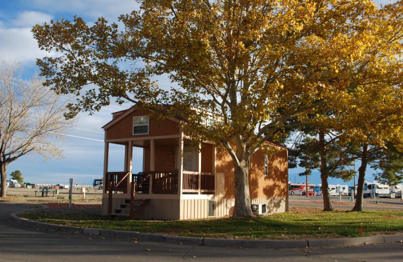 Cabin exterior at American RV Park.