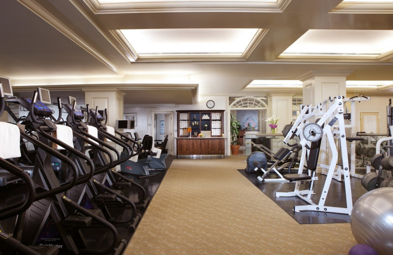 Fitness center at Rosewood Crescent Hotel.