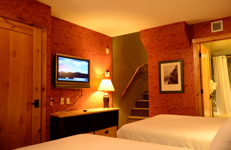 Guest room at The Fox Hotel & Suites in Banff.