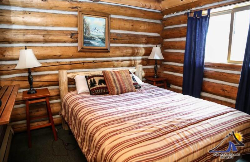 Cabin bedroom at Elk Lake Resort.