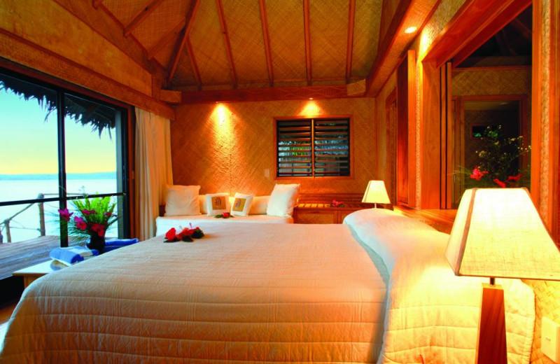 Guest room at The Aitutaki Lagoon Resort & Spa.