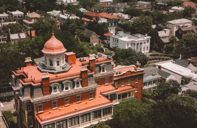 Aerial view of Wentworth Mansion.