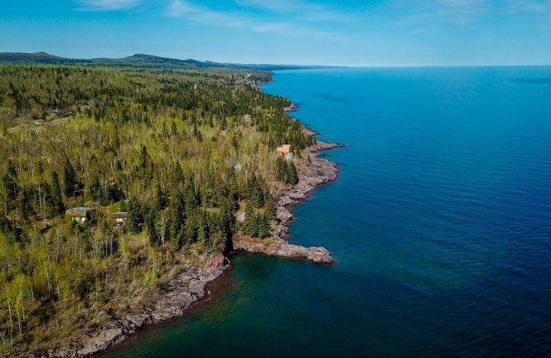 Aerial view of Surfside on Lake Superior.