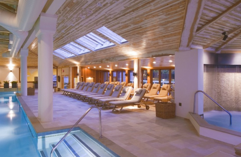 Indoor pool and hot tub at Topnotch Resort.