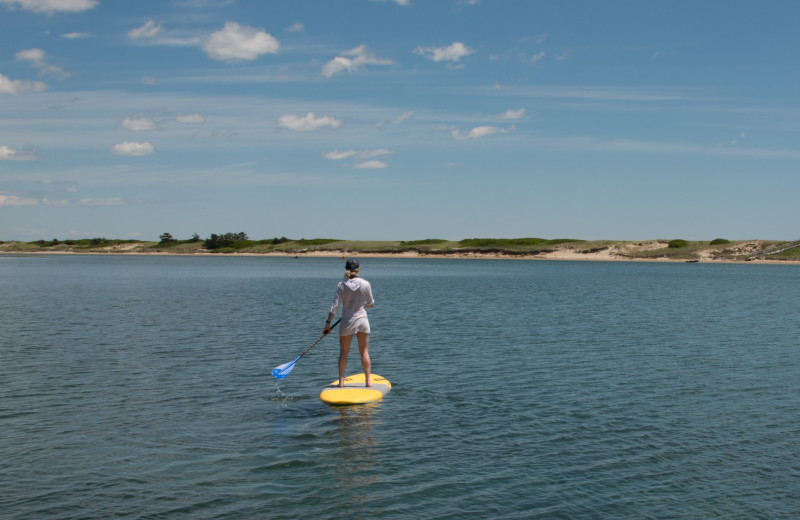 Paddle boarding at The Dunes on the Waterfront.