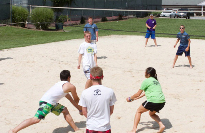 This beach volleyball court is located nearby The Terrace.