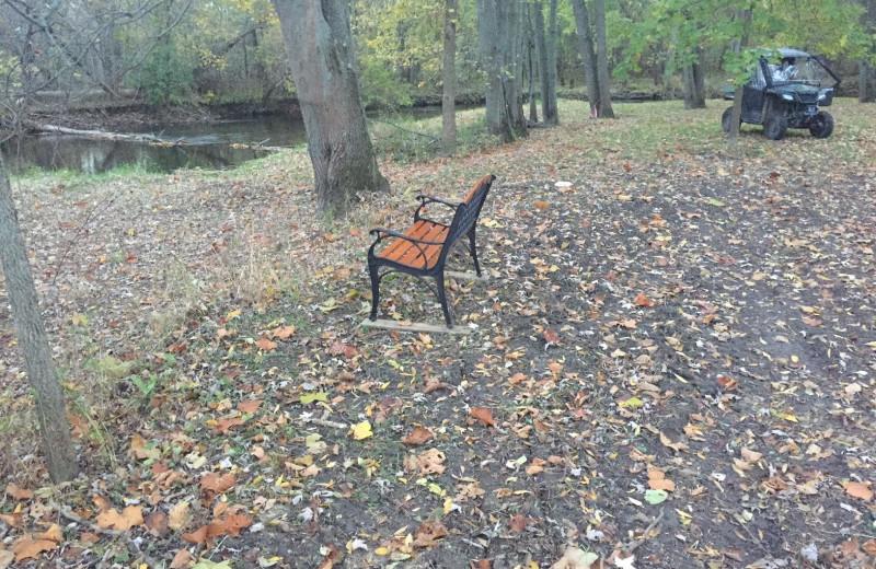 Bench along river at Acorn Lodge.
