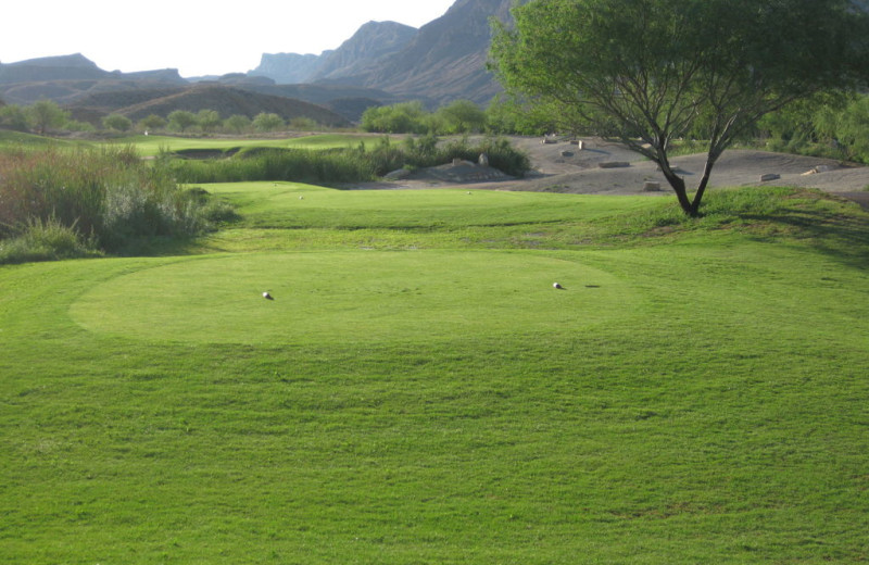 Golf green at Lajitas Resort.