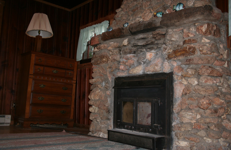 Cabin fireplace at Lost Creek Ranch.