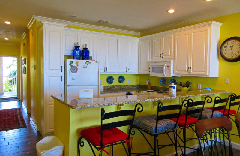 Rental kitchen at Beachfront Rentals.