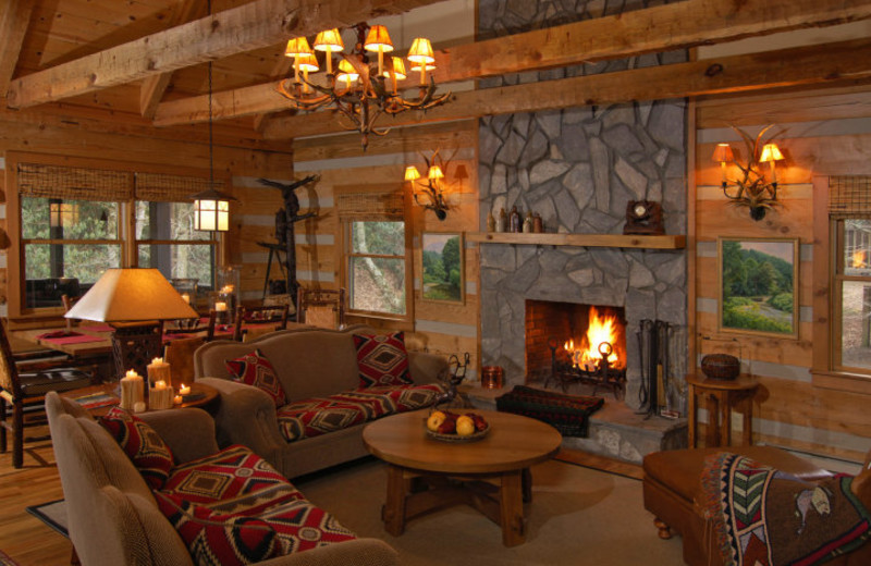 Living room in Cabin at Foscoe Rentals.