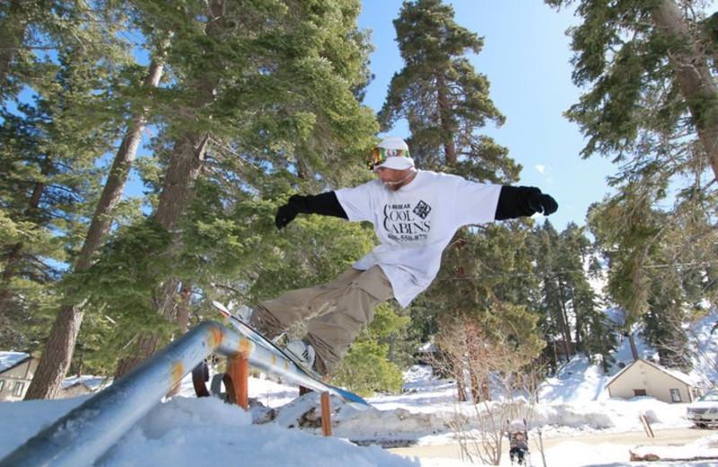 Snowboarding at Big Bear Cool Cabins.