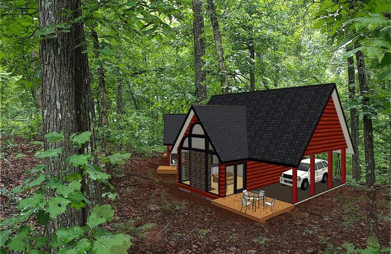 Cabin exterior at Chateau Lake Logan.