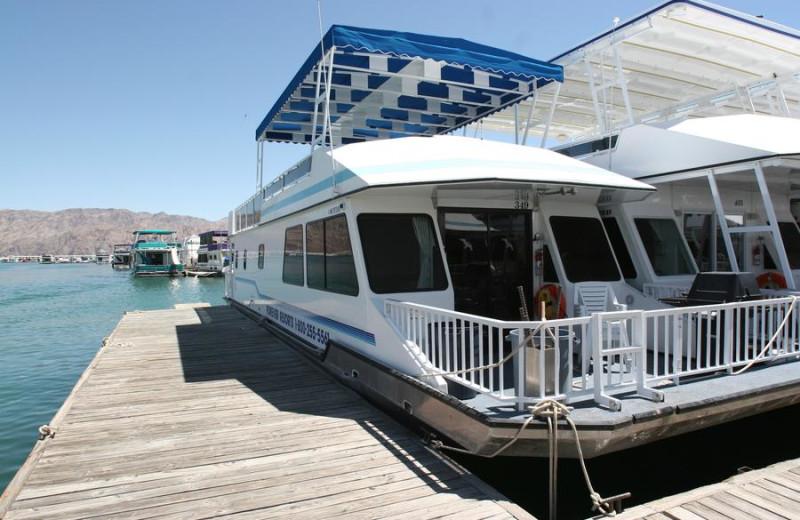 Houseboat exterior at Trinity Lake.