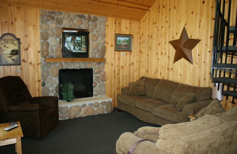 Cabin living room at Ten Mile Lake Resort -Otter Tail Country Lakes Tourism.