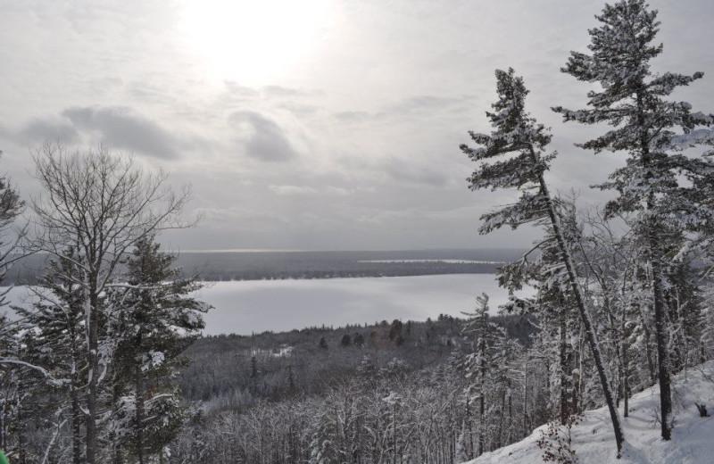 Winter scenery at Skiing at Aqua Log Cabin Resort.