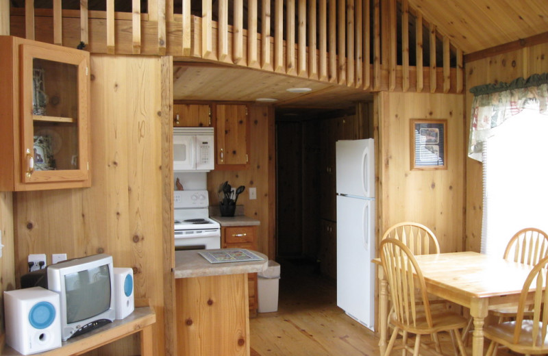 Cabin interior at Eagle Canyon Hideaway.