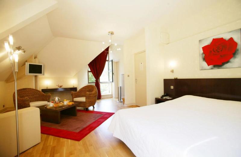 Guest room at Hôtel de la Muse et du Rozier.