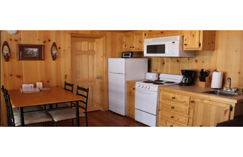 Cabin kitchen at Hocking Hills Backwoods Retreat.