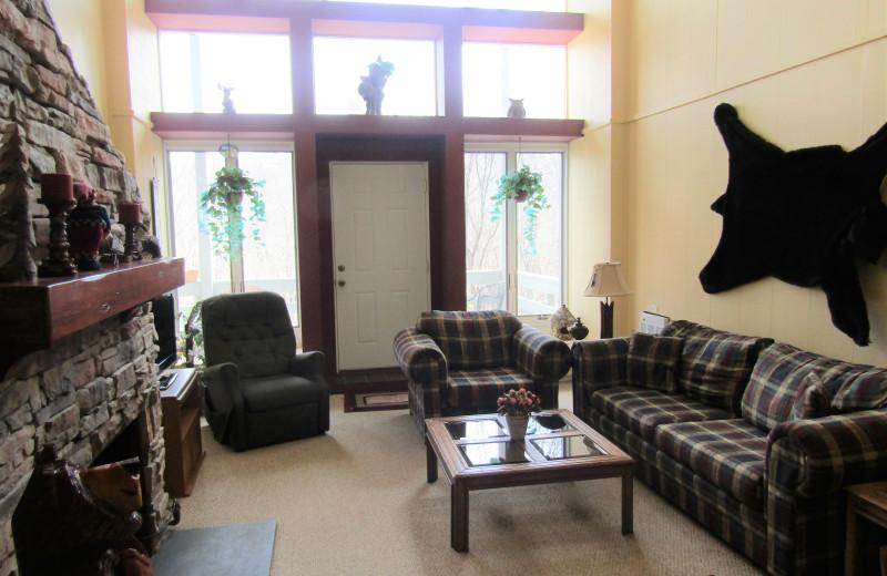 Rental living room at Sugar Mountain Lodging Inc.