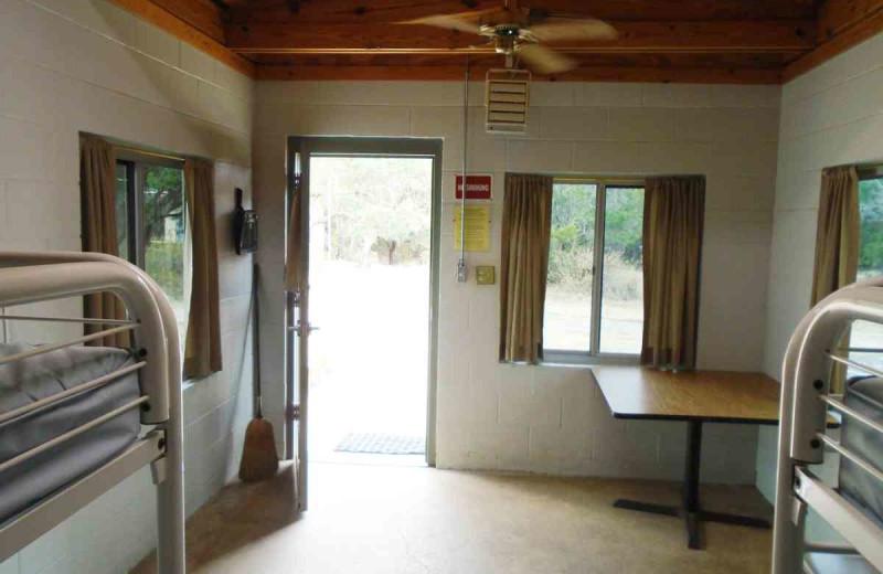 Cabin interior at Inks Lake State Park.