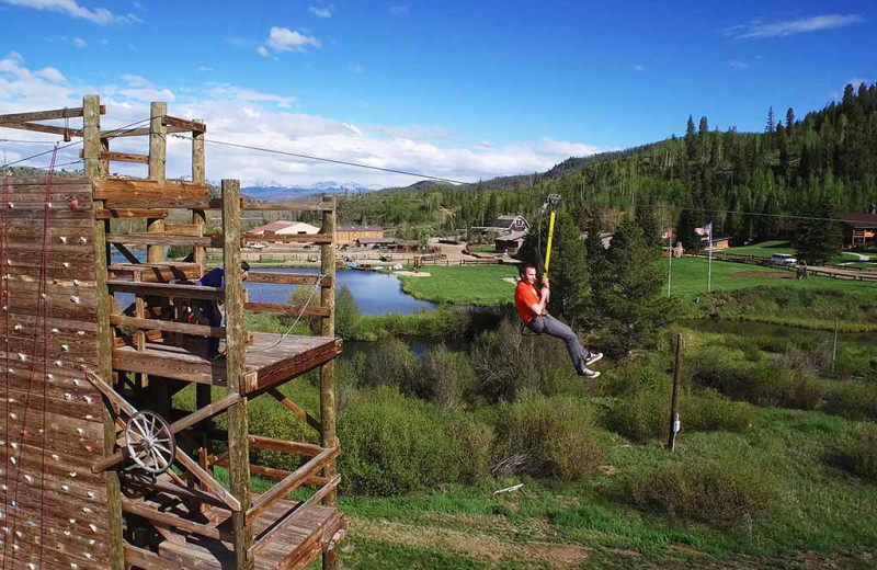 Zip line at C Lazy U Ranch.