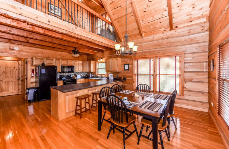Rental kitchen and dining at Dogwood Cabins LLC.