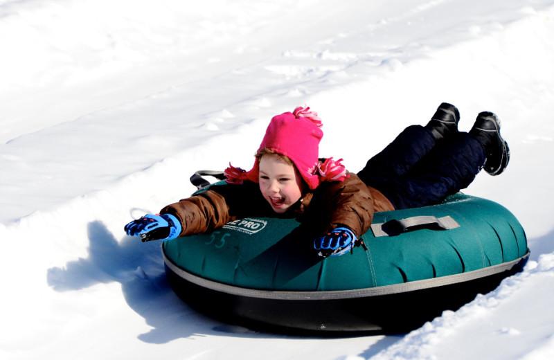 Snow tubing at Holiday Valley Resort.