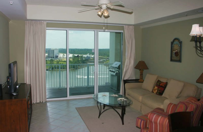 Rental living room at Gulf Beach Rentals.