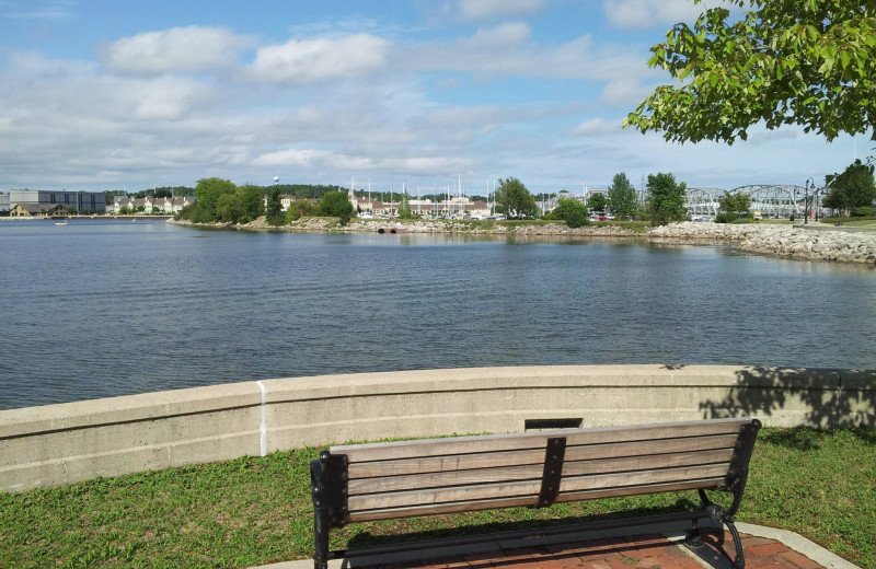 Bench by the lake at Bridgeport Waterfront Resort.
