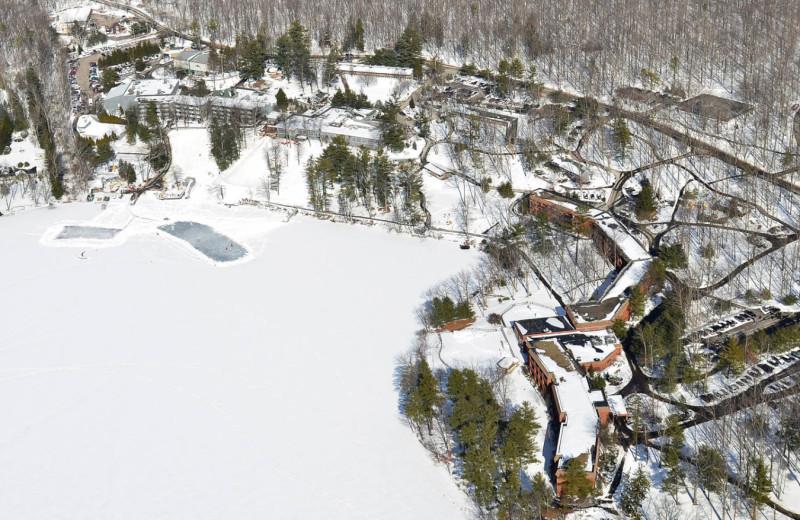 Winter aerial view at Woodloch Resort.