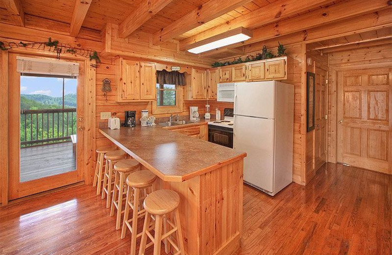 Rental kitchen at Auntie Belham's Cabin Rentals.
