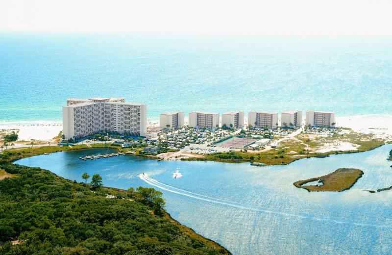 Aerial view of Pinnacle Port Vacation Rentals.