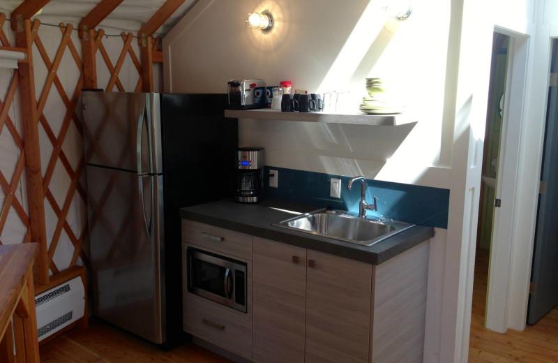 Yurt kitchen at Barefoot Beach Resort.