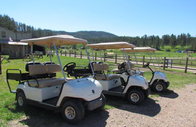 Golf carts at High Country Guest Ranch.