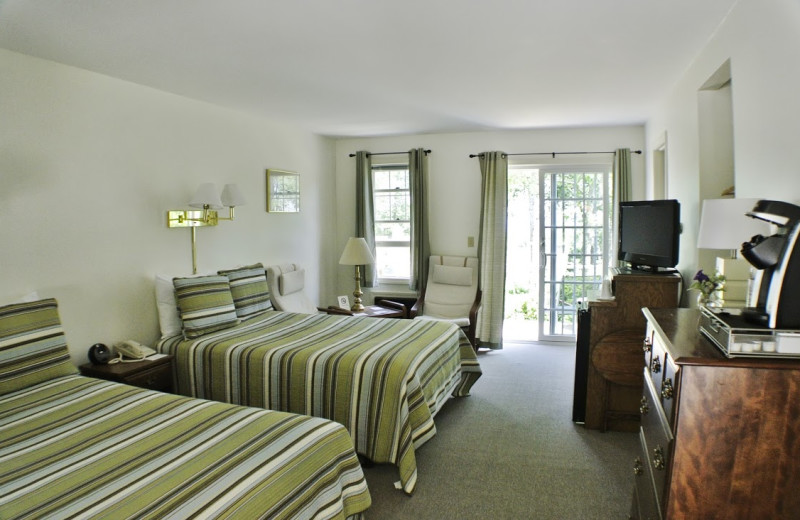 Monhegan room with two full beds at The Lodge at Camden Hills.