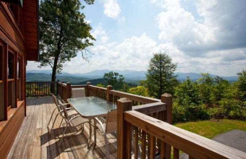 Deck view at Blue Sky Cabin Rentals.