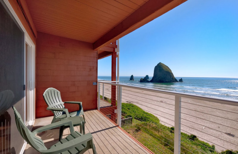 Balcony view of Hallmark Resort in Cannon Beach.