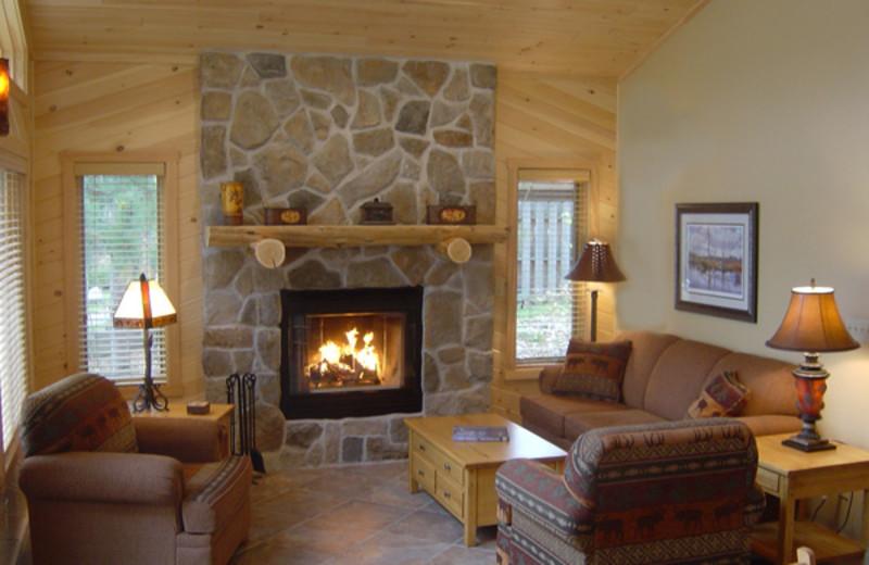 Fireplace living room at River Point Resort & Outfitting Co.