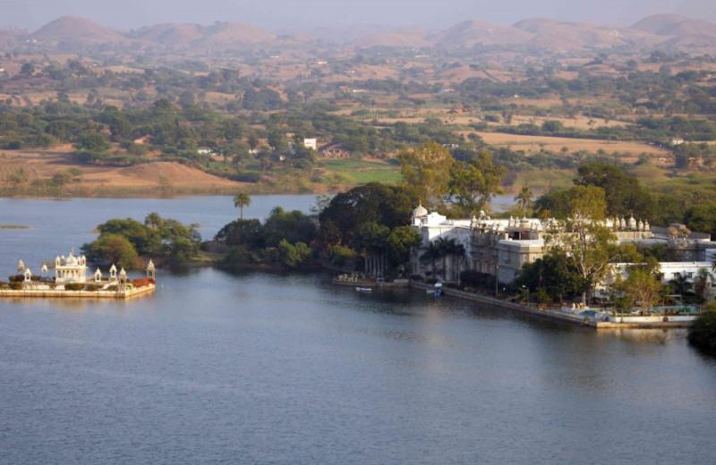 Aerial view of Udai Bilas Palace.
