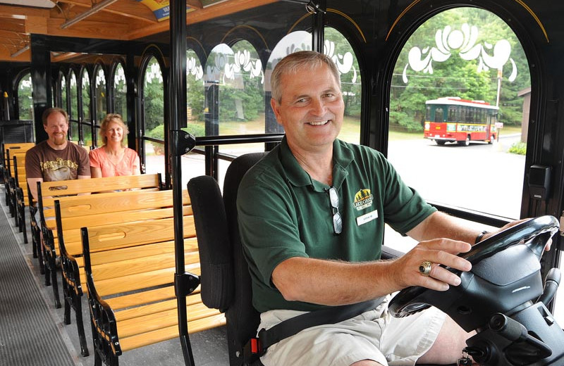 Trolley service at Lake George RV Park.