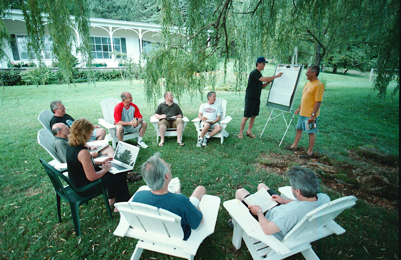 Meeting on the side lawn