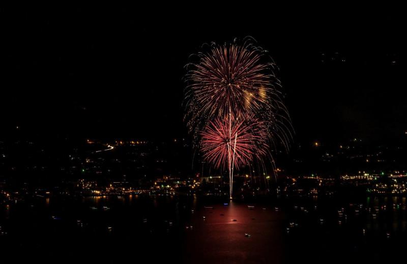 Lake fireworks at Mountain View Lodge.